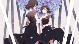 konachan-com-202470-black_hair-dress-flowers-original-petals-short_hair-sonomura