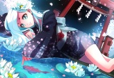 konachan-com-202510-animal-fish-flowers-japanese_clothes-long_hair-marmaladica-torii-water-watermark-white_hair-yukata