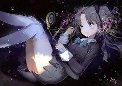 konachan-com-207051-anmi-black_hair-blue_eyes-bubbles-fate_stay_night-fate_zero-flowers-polychromatic-scan-seifuku-thighhighs-tohsaka_rin-underwater-water