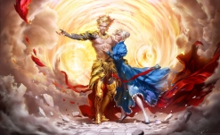 konachan-com-207351-anastasia_bulgakova-armor-blonde_hair-cape-dress-fate_stay_night-gilgamesh-male-realistic-saber-short_hair-torn_clothes