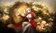 konachan-com-216168-animal-blonde_hair-breasts-cleavage-fate_extra-fate_grand_order-fate_series-flowers-green_eyes-lion-meaomao-rose-saber_extra