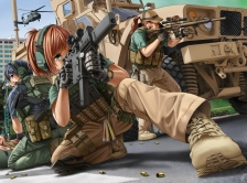 konachan-com-220577-green_eyes-gun-hat-headphones-jpc-male-miltary-orange_hair-original-ponytail-weapon