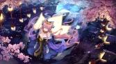 konachan-com-222414-animal_eyes-bzerox-cherry_blossoms-fate_series-foxgirl-headdress-kimono-long_hair-moon-petals-pink_hair-reflection-tree-water-yellow_eyes
