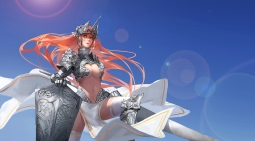 konachan-com-222802-armor-breasts-cleavage-g_q-long_hair-navel-orange_hair-original-spear-thighhighs-weapon-yellow_eyes