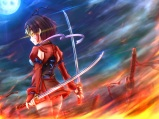 konachan-com-223721-armor-bandage-eltnage-fire-headdress-katana-koutetsujou_no_kabaneri-moon-mumei_kabaneri-night-short_hair-sword-weapon