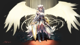 konachan-com-224023-gloves-gray_hair-orange_eyes-petals-puzzle__dragons-ranyu_kuro-signed-sword-valkyrie_pd-weapon-wings