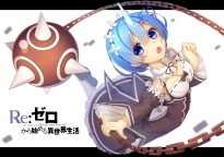 konachan-com-224025-aqua_hair-blue_eyes-breasts-chain-cleavage-collar-headdress-horns-if_asita-maid-rem_re-zero-ribbons-short_hair-uniform-weapon