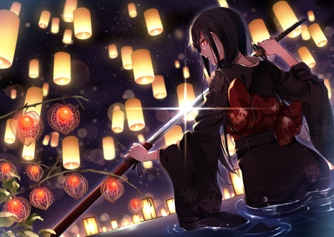 konachan-com-225652-black_hair-bow-cut_bu-kunn-japanese_clothes-katana-kimono-long_hair-night-original-red_eyes-sword-water-weapon
