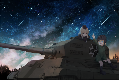 konachan-com-226785-2girls-aqua_eyes-blonde_hair-blue_eyes-bodysuit-boots-fang-forest-hat-katyusha-long_hair-military-night-rollsheep-short_hair-sky-stars-tree-uniform