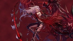 yande-re-331132-armor-blood-bodysuit-dungeon_fighter-fishnets-hanaboo-heels-wallpaper-weapon