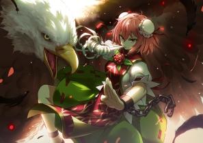 konachan-com-203236-animal-bandage-bird-bobomaster-chinese_clothes-chinese_dress-feathers-flowers-ibara_kasen-pink_eyes-pink_hair-rose-shackles-touhou
