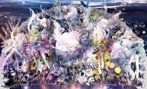 konachan-com-203362-cake-flowers-fruit-group-instrument-lolita_fashion-long_hair-original-radu-white_hair