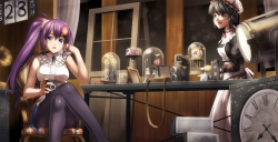 konachan-com-203455-black_hair-blue_eyes-camera-flowers-green_eyes-long_hair-maid-man_trance-original-pantyhose-ponytail-purple_eyes-rose-short_hair