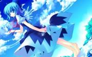 konachan-com-203464-aqua_eyes-aqua_hair-barefoot-cirno-dress-motomiya_mitsuki-short_hair-touhou-wings