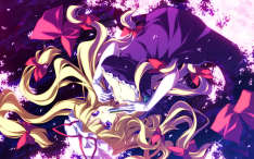 konachan-com-203472-blonde_hair-breasts-cleavage-dress-hat-long_hair-motomiya_mitsuki-petals-purple_eyes-touhou-yakumo_yukari