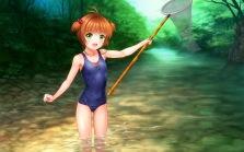 konachan-com-203535-blush-brown_hair-card_captor_sakura-green_eyes-kinomoto_sakura-moonknives-school_swimsuit-short_hair-swimsuit-water