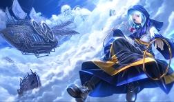 konachan-com-203916-blue-blue_eyes-blue_hair-boat-boots-clouds-hoodie-kumoi_ichirin-ryosios-sky-touhou-unzan