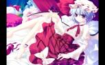 konachan-com-203967-barefoot-hat-motomiya_mitsuki-remilia_scarlet-short_hair-touhou-wings