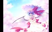 konachan-com-203972-blue_hair-cherry_blossoms-hat-motomiya_mitsuki-petals-red_eyes-remilia_scarlet-short_hair-touhou-umbrella-wings