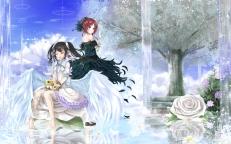 konachan-com-203980-2girls-barefoot-black_hair-bow-feathers-flowers-headdress-nishikino_maki-orien-purple_eyes-red_hair-rose-tree-twintails-wings-wristwear-yazawa_nico