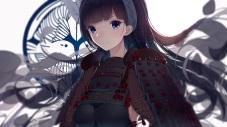konachan-com-204102-armor-atha-black_hair-blue_eyes-close-headband-long_hair-oshiro_project-samurai
