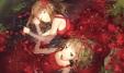 konachan-com-204157-2girls-anmi-brown_hair-bubbles-dress-flowers-green_eyes-long_hair-scan-sleeping-water