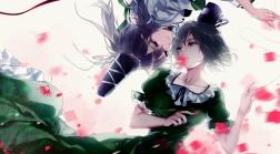 konachan-com-205363-2girls-dress-flowers-hat-hug_yourhug-mononobe_no_futo-petals-short_hair-shoujo_ai-soga_no_tojiko-touhou