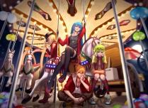 konachan-com-206007-aqua_eyes-aqua_hair-blue_eyes-blue_hair-garter-glasses-group-gumi-hat-kneehighs-long_hair-male-necklace-skirt-stockings-twintails-vocaloid-wei_ji
