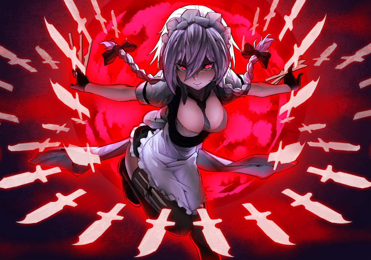 konachan-com-206131-braids-breasts-cleavage-gray_hair-heihei_de_hei_yan_long-izayoi_sakuya-knife-maid-touhou-weapon