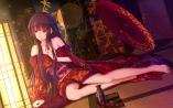 konachan-com-206390-bakanoe-barefoot-black_hair-drink-houraisan_kaguya-japanese_clothes-long_hair-red_eyes-sake-touhou-umbrella