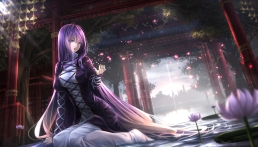 konachan-com-206540-flowers-hijiri_byakuren-long_hair-purple_hair-ryosios-sunset-torii-touhou-water-yellow_eyes