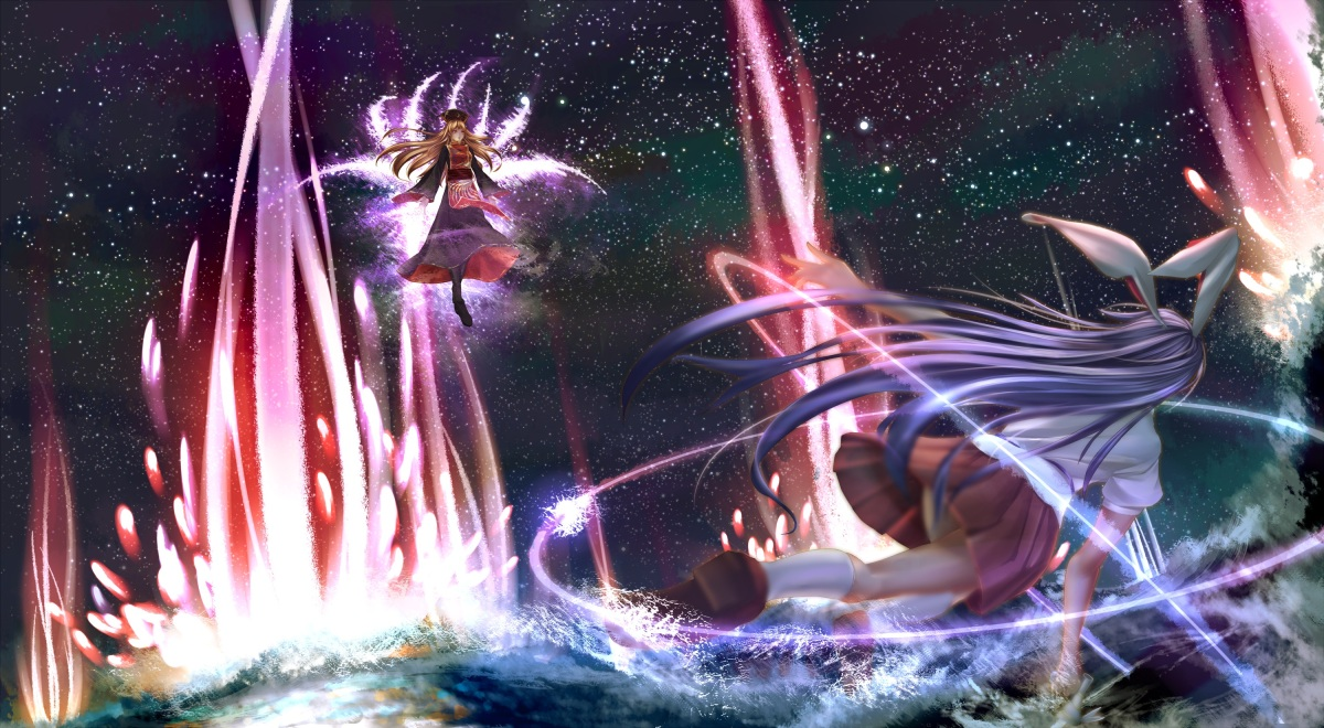 konachan-com-206658-2girls-animal_ears-blonde_hair-bunny_ears-bunnygirl-dress-haru-kun-hat-junko-kneehighs-long_hair-magic-purple_hair-skirt-stars-touhou