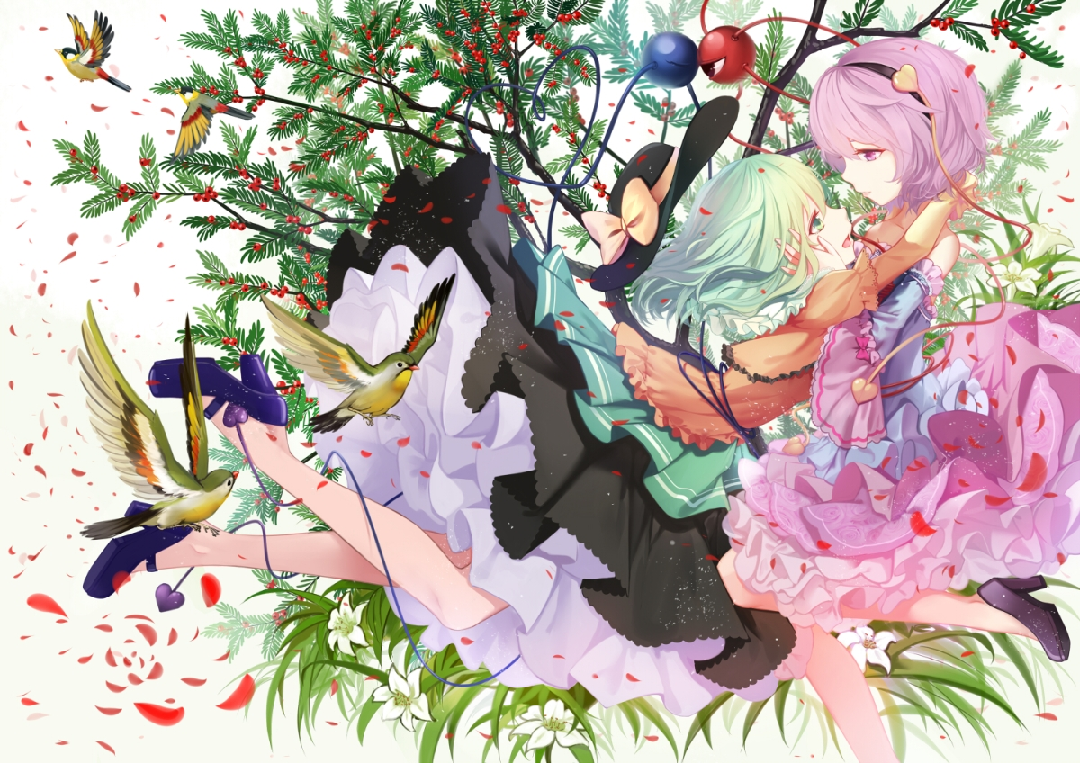 konachan-com-206883-2girls-animal-bird-cloudy-r-flowers-hat-headband-hug-komeiji_koishi-komeiji_satori-leaves-petals-short_hair-shoujo_ai-skirt-touhou-tree