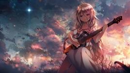 konachan-com-207085-blonde_hair-braids-c-c-r_ccrgaoooo-clouds-dress-grass-guitar-ia-instrument-leaves-long_hair-moon-sky-sunset-vocaloid