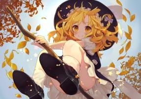 konachan-com-207874-autumn-blonde_hair-hat-kirisame_marisa-leaves-long_hair-misoni_comi-panties-striped_panties-touhou-underwear-upskirt-witch-witch_hat-yellow_eyes