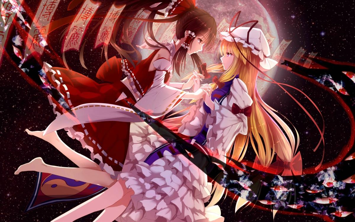 konachan-com-207956-2girls-bakanoe-blonde_hair-bow-brown_hair-dress-hakurei_reimu-hat-long_hair-miko-ofuda-ponytail-purple_eyes-red_eyes-space-stars-touhou-yakumo_yukari