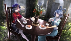 konachan-com-208179-2girls-black_hair-blue_eyes-blue_hair-cake-drink-flowers-kaku_seiga-miyako_yoshika-purple_eyes-ryosios-short_hair-touhou-tree