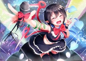 konachan-com-209173-animal-black_hair-bow-garter_belt-houjuu_nue-microphone-short_hair-snake-stockings-tagme_artist-thighhighs-touhou-wings