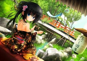 konachan-com-211182-black_hair-blue_eyes-drink-food-grass-japanese_clothes-kimono-long_hair-original-tanishi_0403