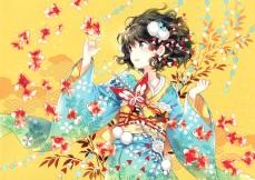 konachan-com-214844-animal-black_eyes-black_hair-fish-japanese_clothes-kimono-nardack-original-scan-short_hair