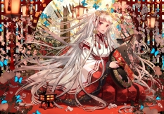 konachan-com-214913-butterfly-crown-instrument-japanese_clothes-long_hair-original-pointed_ears-red_eyes-shijuu_hachi-white_hair