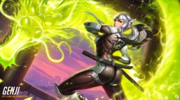 konachan-com-226033-armor-ass-bodysuit-dragon-genderswap-gray_hair-green_eyes-katana-liang_xing-long_hair-magic-overwatch-ponytail-skintight-sword-watermark-weapon