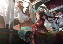 konachan-com-226749-aliasing-aqua_eyes-book-brown_hair-building-city-clouds-headdress-japanese_clothes-kimono-long_hair-original-ponytail-sky-tagme_artist