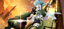 konachan-com-228523-blue_hair-gochiwa-green_eyes-gun-gun_gale_online-shinon_sao-shorts-sunset-sword_art_online-weapon