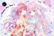konachan-com-233406-2girls-blush-brown_hair-green_eyes-japanese_clothes-kimishima_ao-kimono-long_hair-orange_eyes-original-pink_hair-ribbons-signed