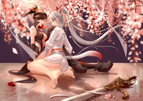 konachan-com-234302-2girls-barefoot-black_hair-cherry_blossoms-clouble-gray_hair-petals-ponytail-sword-weapon