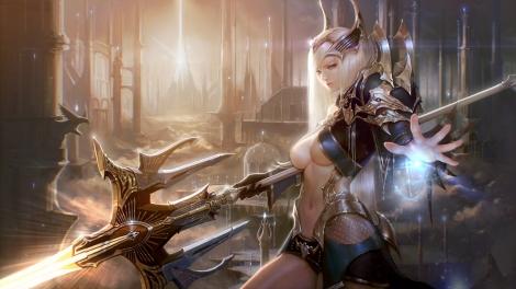 konachan-com-234703-armor-blonde_hair-breasts-lee_jung_hun-long_hair-magic-navel-original-realistic-spear-underboob-weapon
