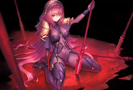konachan-com-236636-bodysuit-breasts-duan_henglong-fate_grand_order-fate_series-headdress-long_hair-purple_hair-red_eyes-skintight-spear-weapon