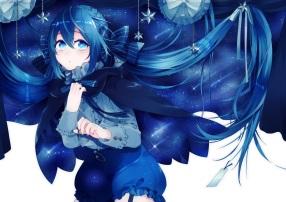 Konachan.com - 204163 bloomers blue blue_eyes blue_hair bow braids cape hazuki_mizuho long_hair original
