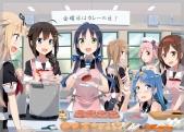 Konachan.com - 204618 animal apron blue_eyes blue_hair braids food gloves green_eyes group hat headband long_hair penguin pink_hair ponytail red_eyes seifuku twintails
